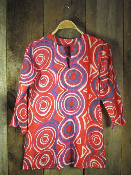 Cotton Print Tunic Mod in Red