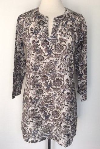 Cotton Print Tunic Silver Lining