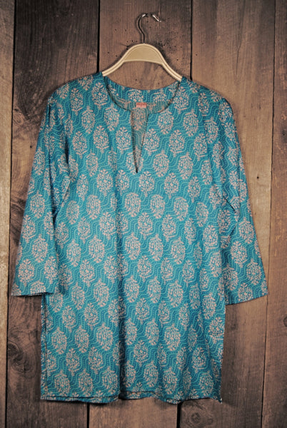 Cotton Print Tunic in Fresh Turquoise
