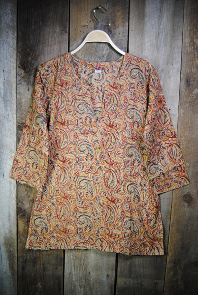 Cotton Shiva Tunic Earthy Paisley