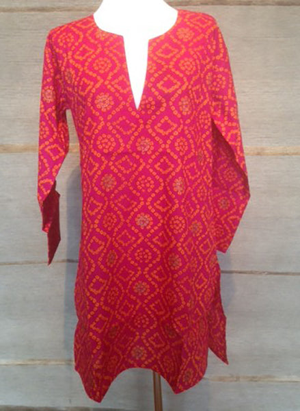 Cotton Tunic Top Hot Pink and Orange
