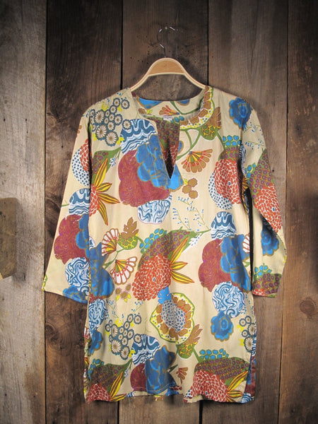 Cotton Tunic Top Mums on Beige