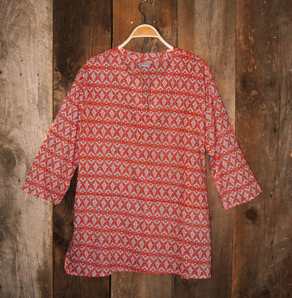 Cotton Tunic Top Southwestern Coral