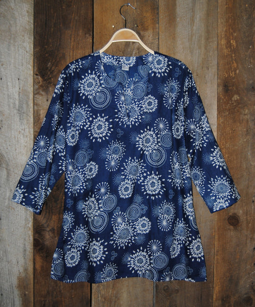 Cotton Tunic Top in Blue Floral