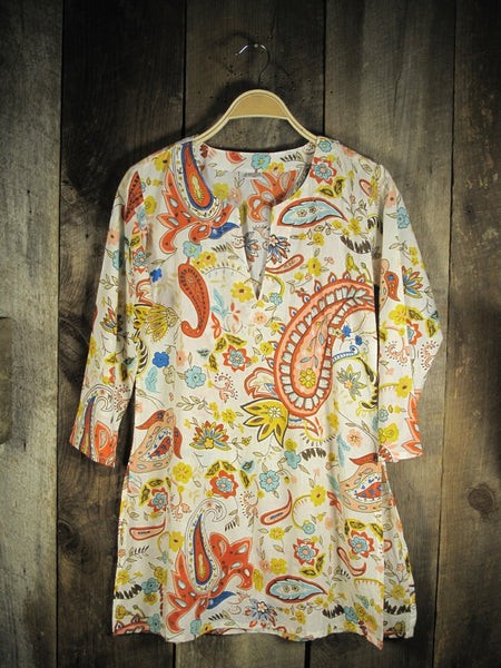 Cotton Tunic Top in Bright Paisley