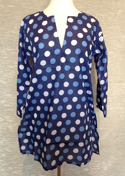 Cotton Tunic Top in Navy with Polka Dots
