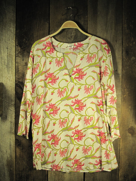 Cotton Tunic Top in Pink Floral