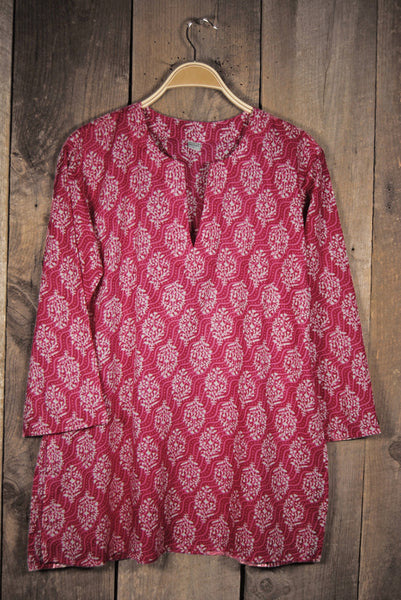 Cotton Tunic Top in Pink Waves
