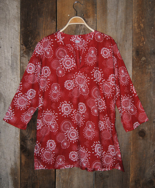 Cotton Tunic Top in Red Floral