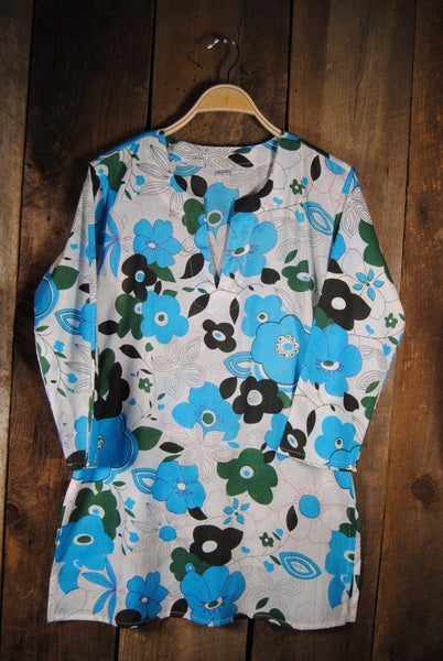 Cotton Tunic Top in Bold Blue Floral