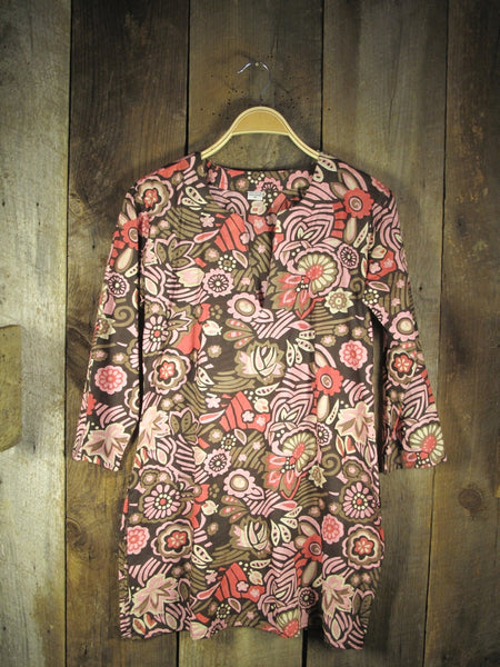 Tunic - Cotton Tunic Top in Rose Pink on Brown - Girl Intuitive - Nusantara -