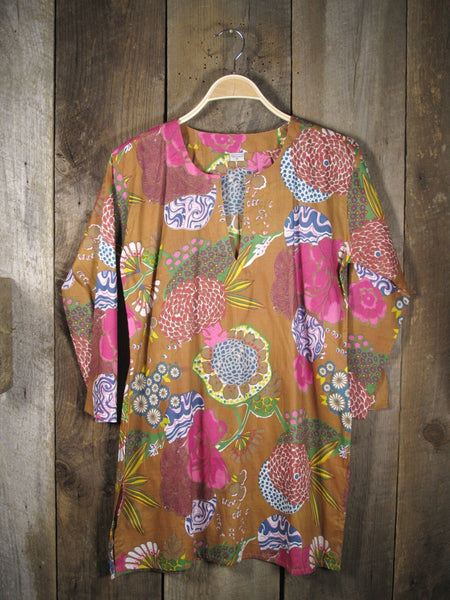 Cotton Tunic Top Pink Mums on Tan