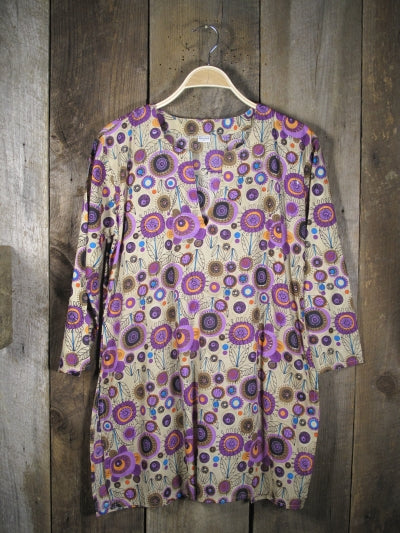 Cotton Tunic Top with Purple Flowers