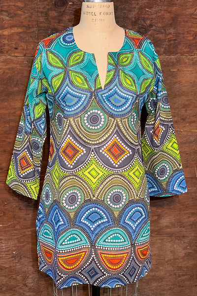 Tunic - Cotton Tunic Top Blues and Greens - Girl Intuitive - Dolma -
