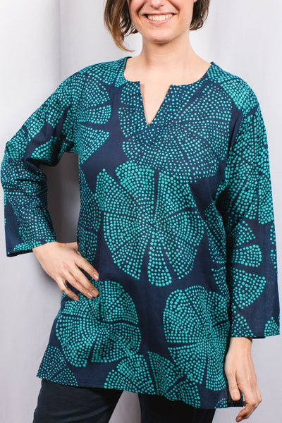 Cotton Tunic Top Navy Teal