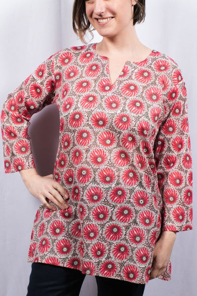 Cotton Tunic Top Pink Dahlia