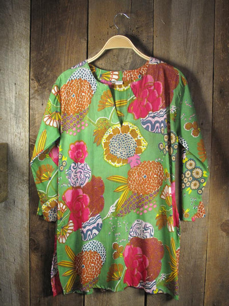 Cotton Tunic Top Mums on Green
