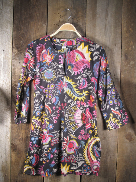 Cotton Tunic Top Tropical Floral on Black