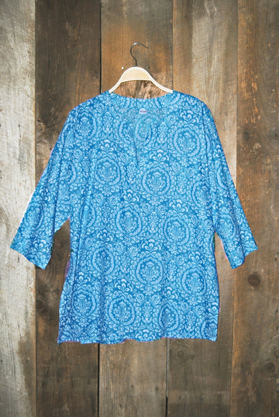 Cotton Tunic Top Tropical Turquoise