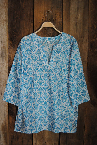 Cotton Tunic Top Turquoise Damask