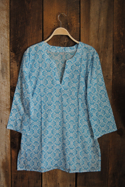 Cotton Tunic Top Turquoise Fans
