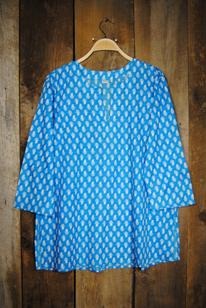 Cotton Tunic Top Turquoise Tulips