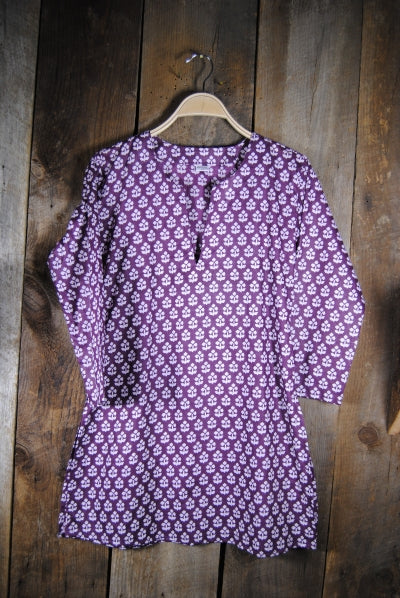 Cotton Tunic Top in Purple