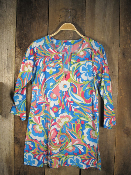 Cotton Tunic Top in Retro Floral