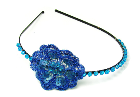 Crochet Flower Headband cobalt