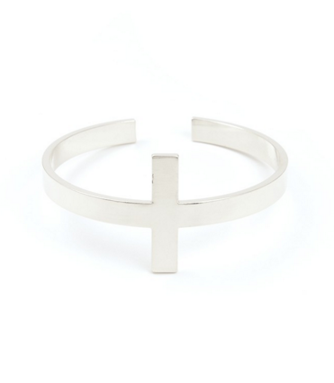 Cross Metal Cuff Bracelet Silver