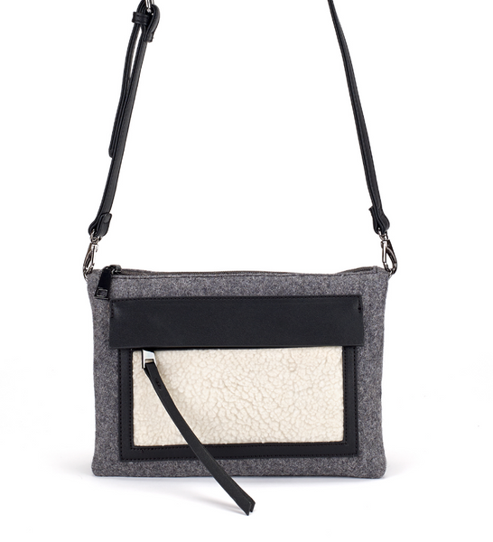 Double Envelope Crossbody Bag in Shearling