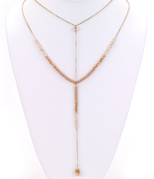 Crystal Drop Y-Necklace in Beige