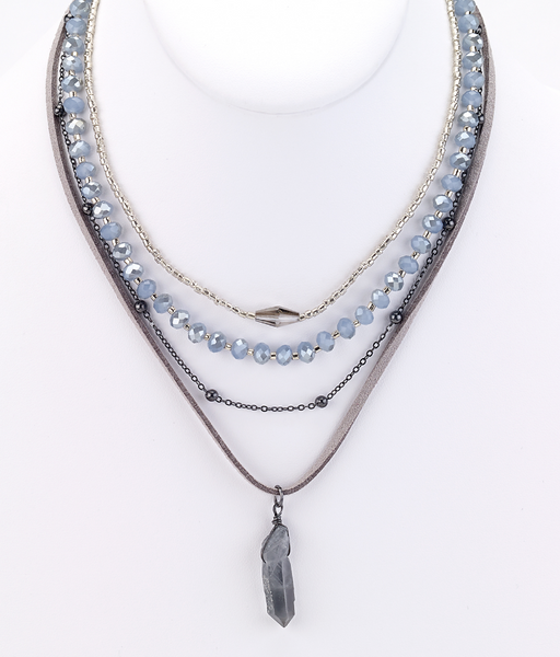 Crystal Leather Necklace