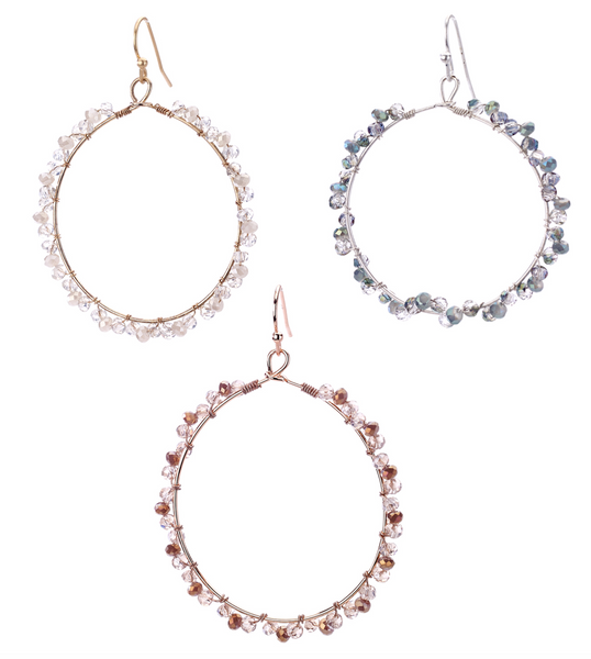 Crystal Beaded Hoop Earrings