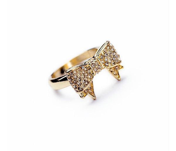 Crystal Bow Rings gold