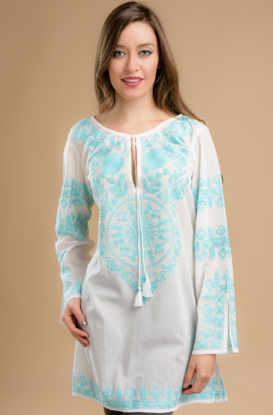 Daksha Embroidered Tunic Top blue