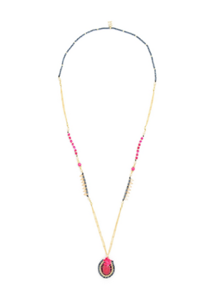 Dancing Hot Pink Stones Long Necklace