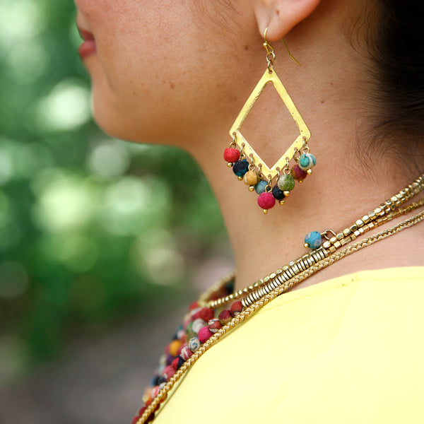 Dangling Kantha Kite Earrings