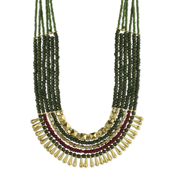 Dark Green Bead Gold Dangle Necklace