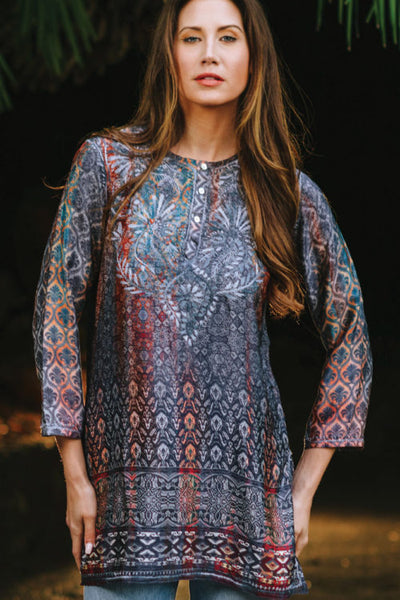 Deena Steel Blue Embroidered Tunic