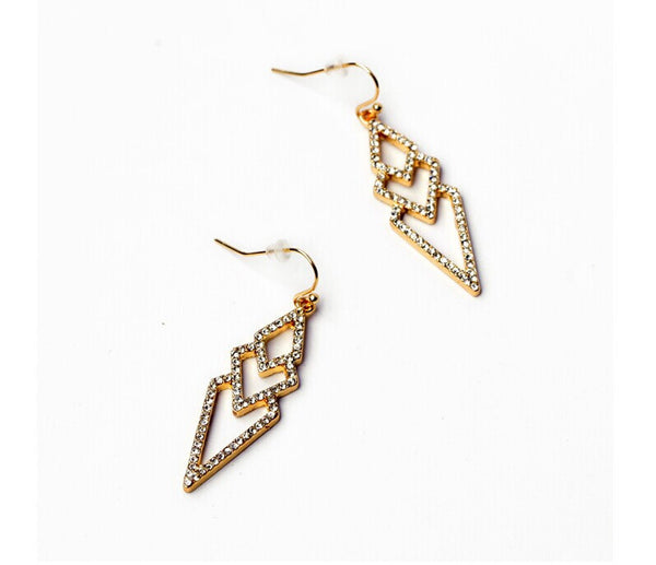 Delicate Diamond Drop Earrings side