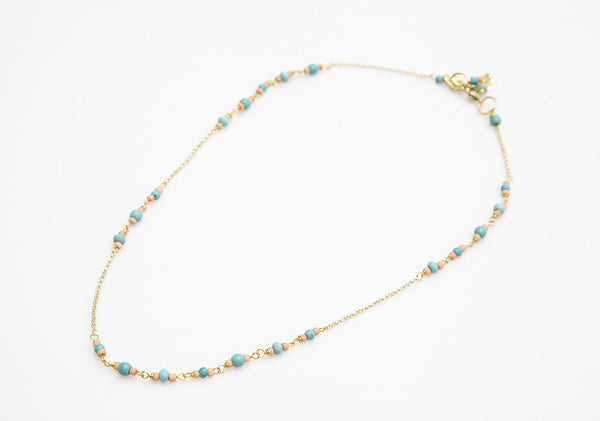 Delicate Double Row Anklet with Beads