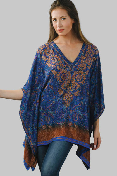 Demira Embroidered Top in Navy