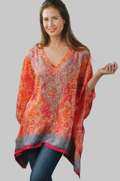 Demira Embroidered Top in Orange