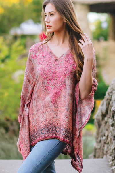 Demira Embroidered Top in Rose outdor