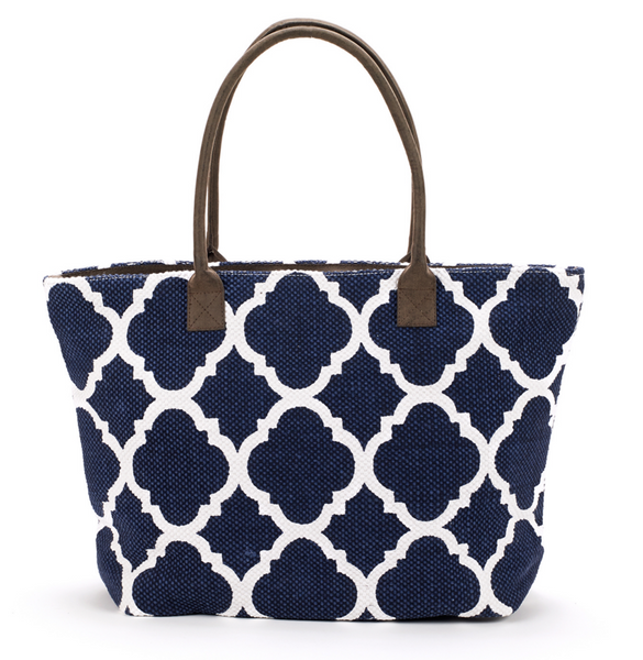 Dhurrie Tote Beach Bag Navy