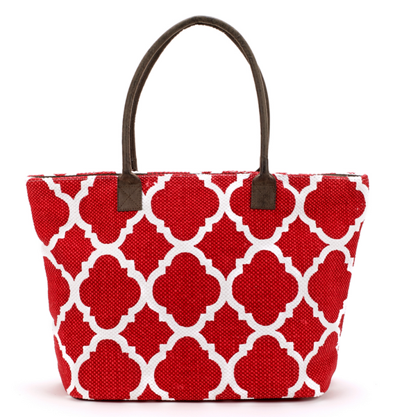 Dhurrie Tote Beach Bag Red