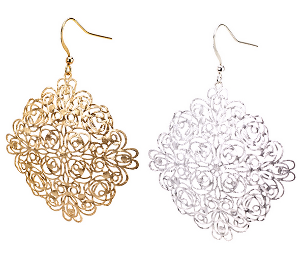 Diamond Square Filigree Earrings