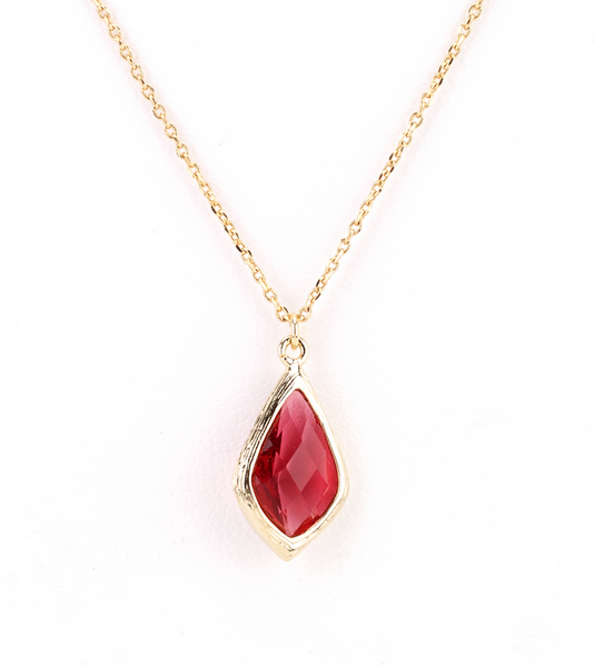 Diamond Droplet Necklace red