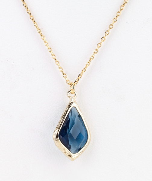 Diamond Droplet Necklace in Blue